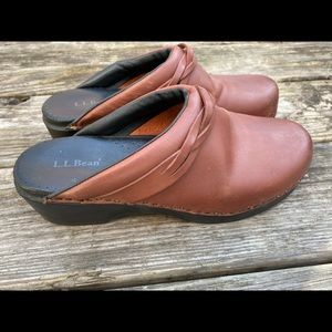 L Bean Womens Clogs Slip on Mules Brown Leather